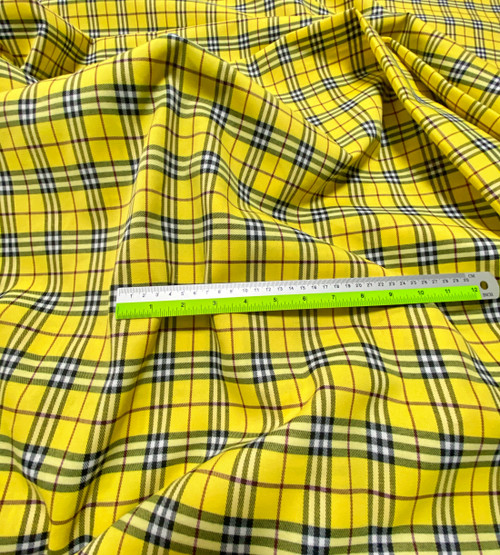 "Plaid Tartan Woven Cotton Fabric 44""W - Yellow"