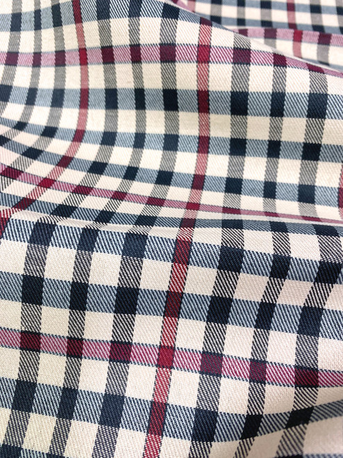 "Plaid Tartan Woven Cotton Fabric 44""W - Black Red Brown"