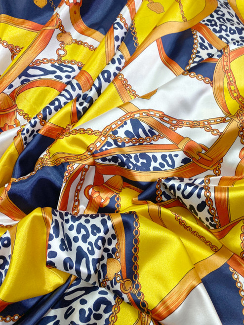 Leopard Animal Print & Chains Satin Fabric - Yellow & Blue