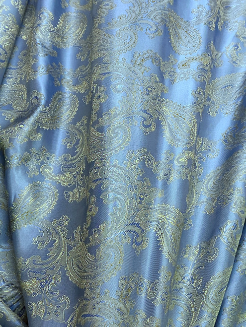 "Paisley Jacquard Viscose Fabric 60""W - Blue Shot Gold"