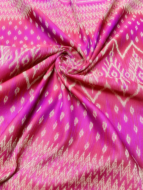 """Traditional Thai Silk Damask 40""""X80"""" Fabric  - Hot Pink/Red/Gold"""