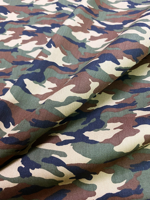 "Army Camouflage Print 100% COTTON 44""W Fabric Material - Green Brown"