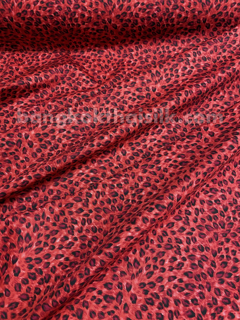 "Red Black Cheetah Leopard Animal Print 100% COTTON 44""W Fabric"