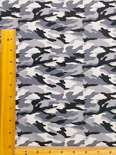 """Army Camouflage Print 100% COTTON 44""""W Fabric Material - Gray"""