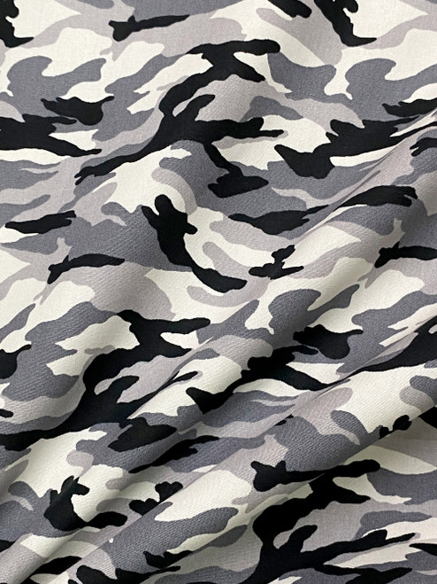 "Army Camouflage Print 100% COTTON 44""W Fabric Material - Gray"