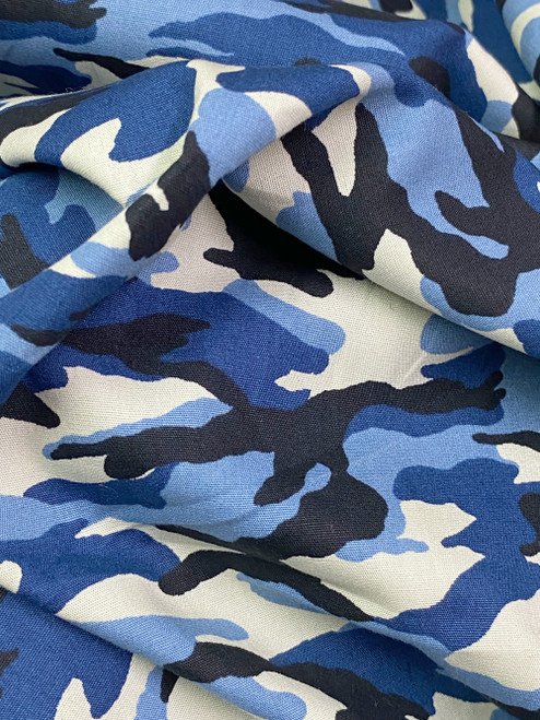 """Army Camouflage Print 100% COTTON 44""""W Fabric Material - Royal Blue"""