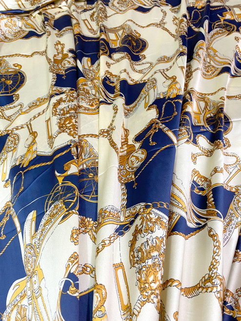 "Coach Carriage Tassel Print Faux Silk Satin Material Fabric 48""W - Blue & Gold"