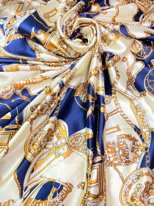 """Coach Carriage Tassel Print Faux Silk Satin Material Fabric 48""""W - Blue & Gold"""