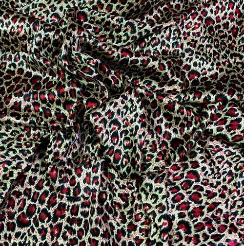 "Cheetah Leopard Animal Print Satin 48""W Fabric - Gold Red"