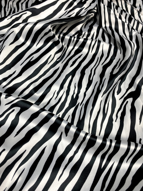 "Zebra Animal Print Satin 48""W Fabric - Black & White"
