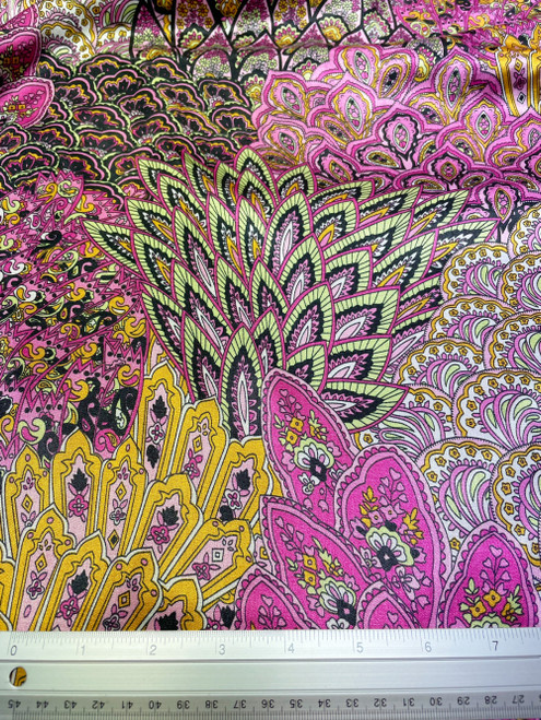 """Peacock Fan Out Displays Animal Print Satin 48""""W Fabric - Pink Yellow"""