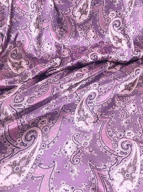 "Paisley Faux Silk Satin 48""W Fabric Material - Purple Gray"