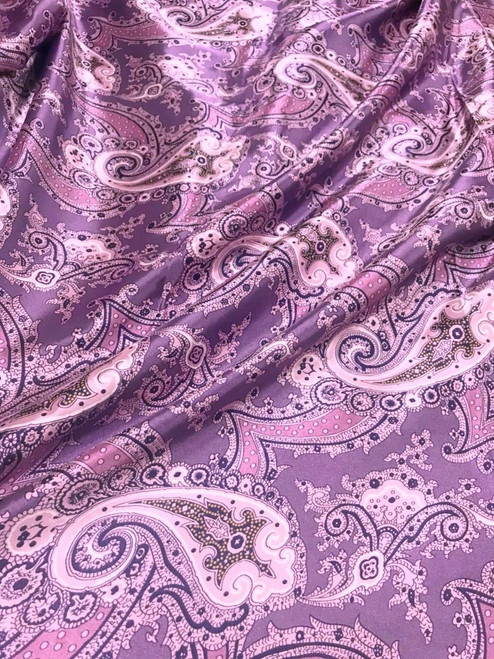 "Paisley Faux Silk Satin 48""W Fabric Material - Purple Gray"