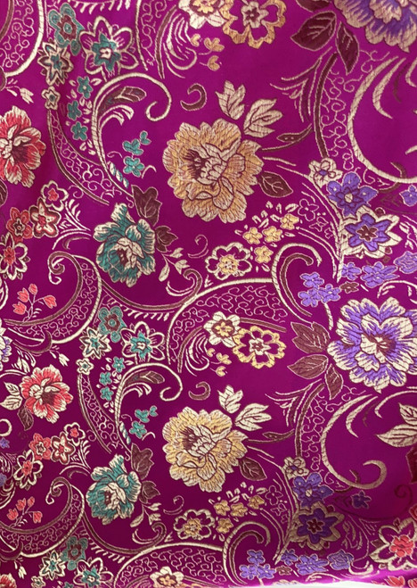 """Pink Floral Faux Silk Shantung Fabric 36""""W By The Yard"""