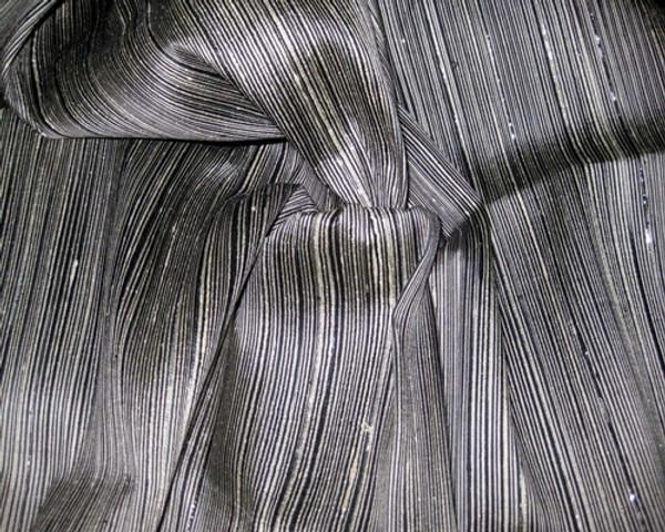 Reeded Stripe Dupioni 100% Auth Silk Fabric - Black & Ivory