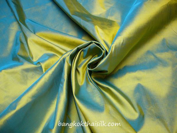 Gold Shot Blue 100% Authentic Silk Fabric