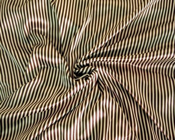 "Stripe Faux Silk Satin 48"" Fabric -Brown & Gold"