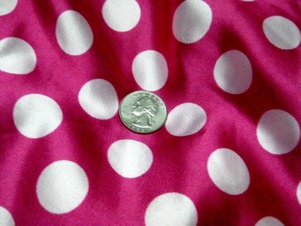 """Polka Dots Print Faux Silk Satin 48""""W - Hot Pink & White"""