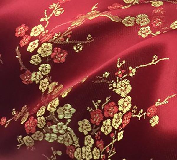 Burgundy & Gold Silk Shantung Cherry Blossom Brocade