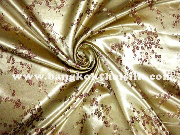 Gold & Plum Silk Shantung Cherry Blossom Brocade