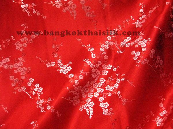 Red & Silver Silk Shantung Cherry Blossom Brocade