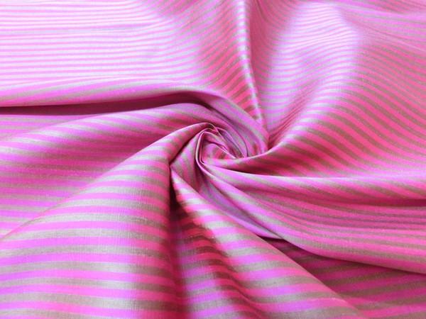 Pink & Gold Pin Stripe 100% AUTH Silk Fabric