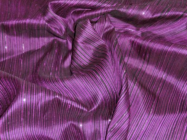 Reeded Stripe Dupioni 100% Auth Silk Fabric - Dark Royal Purple & Black