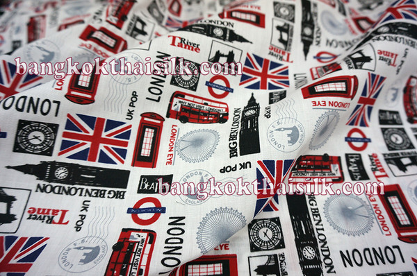 London Bus & Big Ben Print Poly Cotton Fabric