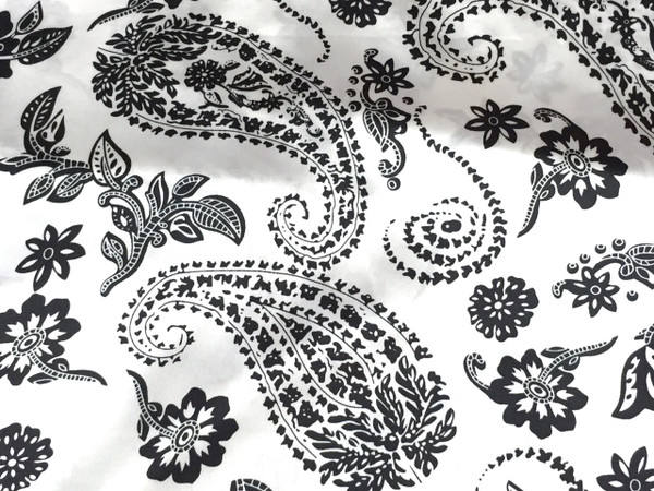 "Paisley Faux Silk Satin 48""W Fabric - Ivory & Black"