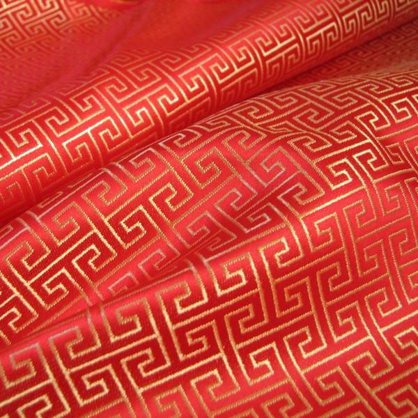 Swirl Wind Oriental Pattern Brocade Faux Silk Shantung - Red Gold