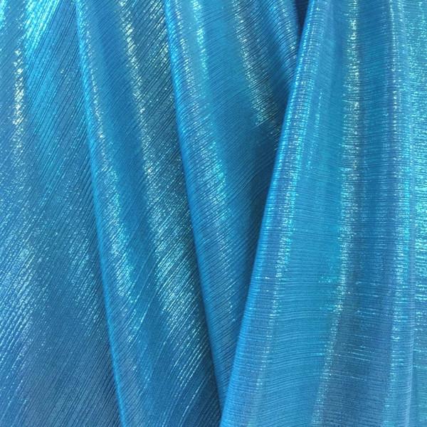 Metallic Pin Stripe Spandex 2Way Stretch Fabric - Turquoise