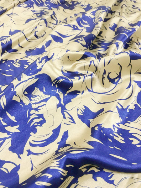 """Floral Roses Faux Silk Satin 48""""W Fabric - Blue Gold"""