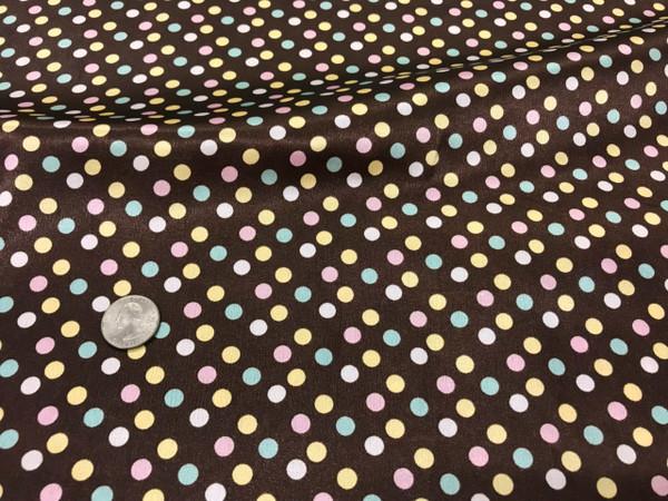 "Multi Color Polka Dot Faux Silk Satin 48""W Fabric - Brown Blue Pink"