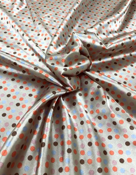 "Multi Color Polka Dot Faux Silk Satin 48""W Fabric - Taupe Blue Orange"