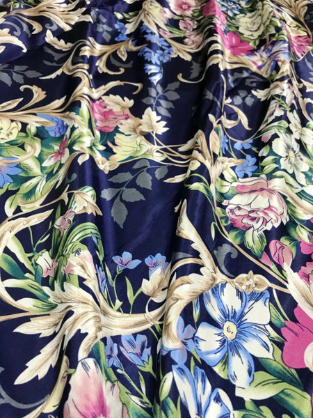 "Anna Louise & Louise Odier Rose Flowers Floral Print Faux Silk Satin 48""W Fabric - Dark Blue"