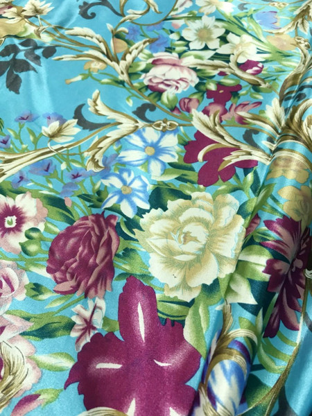 """Floral Colorful Roses Faux Silk Satin 48""""W Fabric - Turquoise Blue"""
