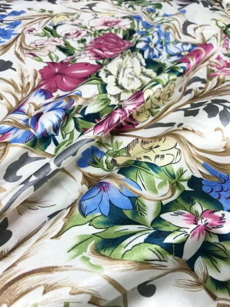 """Floral Colorful Roses Faux Silk Satin 48""""W Fabric - IVORY"""