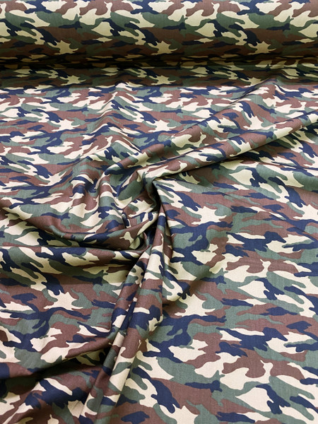 """Army Camouflage Print 100% COTTON 44""""W Fabric Material - Green Brown"""