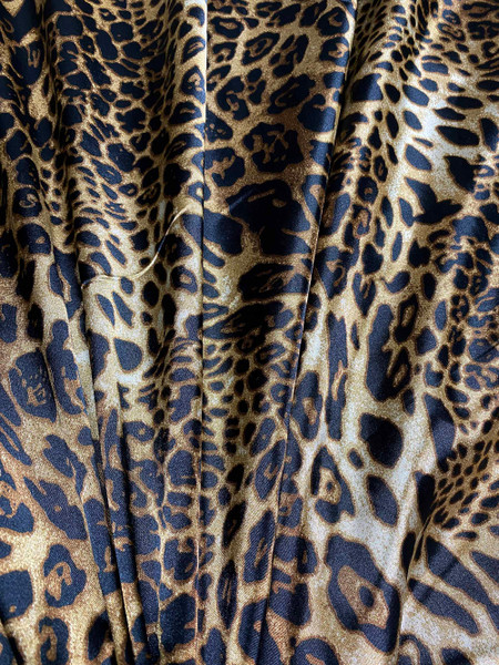 "Cheetah Leopard Animal Print Satin 48""W Fabric - Dark Brown"
