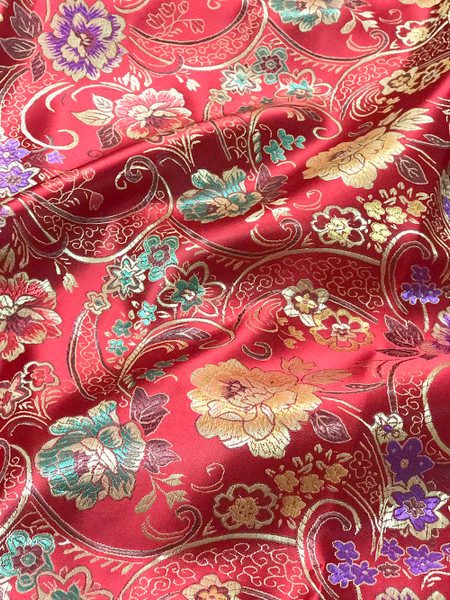 """Red Floral Faux Silk Shantung Fabric 36""""W By The Yard"""