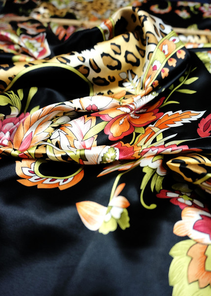 Leopard Animal Print & Floral Faux Silk Satin Fabric - Black & Brown Gold