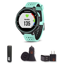 Garmin Forerunner 235 (Frost Blue) With PowerBank, USB Car Charger, USB Wall Charger, EZEE Bundle!