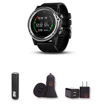 Garmin Descent Mk1 (Silver with Black Band) + PowerBank + USB Car Charger + USB Wall Charger, EZEE Bundle