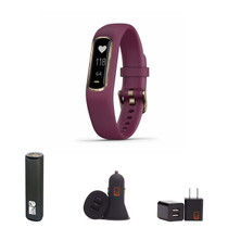 Garmin vivosmart 4 - (Gold w/Berry) Activity and Fitness Tracker w/Pulse Ox and Heart Rate Monitor Bundle with PowerBank + USB Car Charger + USB Wall Charger