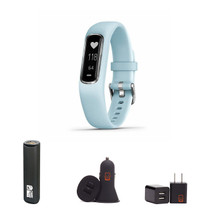 Garmin vivosmart 4 - (Silver w/Azure Blue) Activity and Fitness Tracker w/Pulse Ox and Heart Rate Monitor Bundle with PowerBank + USB Car Charger + USB Wall Charger