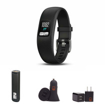Garmin vivofit 4 - (Black/Large) Activity Tracker Bundle with PowerBank + USB Car Charger + USB Wall Charger