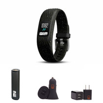 Garmin vivofit 4 - (Black Speckle/Small-Medium) Activity Tracker Bundle with PowerBank + USB Car Charger + USB Wall Charger
