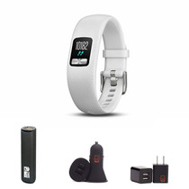 Garmin vivofit 4 - (White/Small-Medium) Activity Tracker Bundle with PowerBank + USB Car Charger + USB Wall Charger