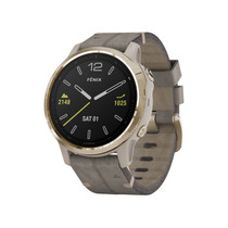 Garmin Fenix 6S Sapphire - Premium Multisport GPS Watch - Smaller-Sized - Light Gold with Gray Leather Band