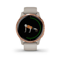 Garmin Venu - GPS Smartwatch with Bright Touchscreen Display - Rose Gold with Tan Band